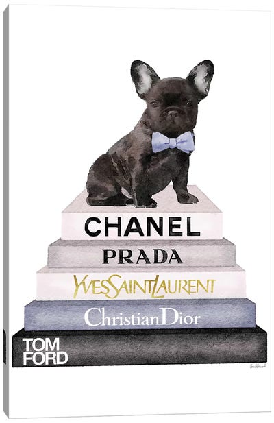 Bookstack & Black Frenchie Canvas Art Print