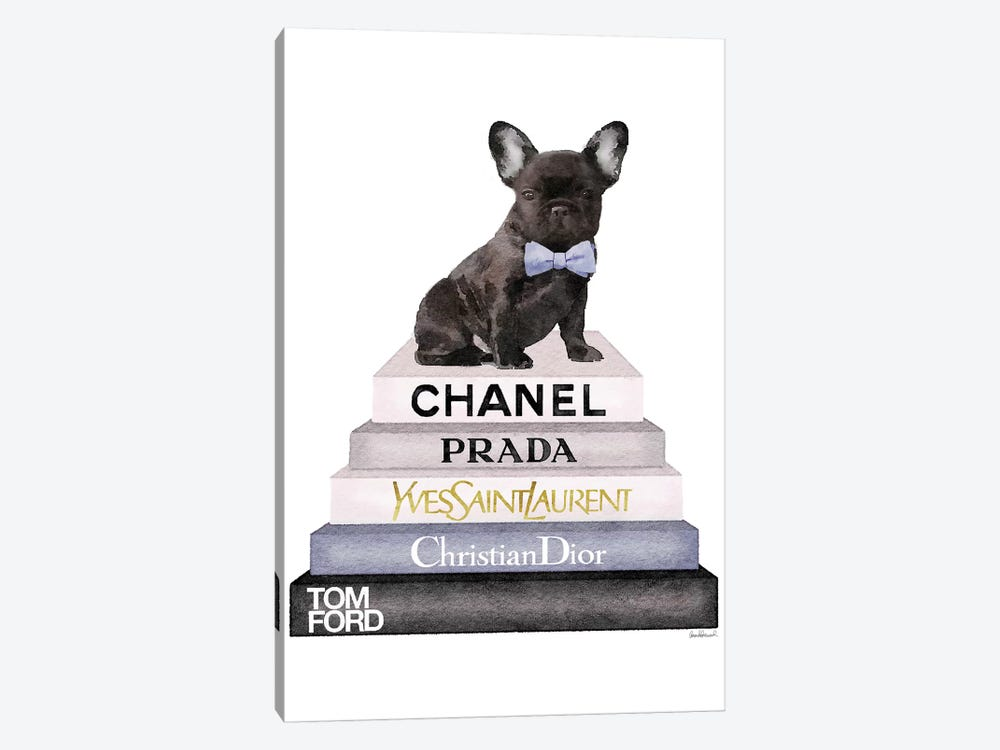 Bookstack & Black Frenchie by Amanda Greenwood 1-piece Canvas Art Print