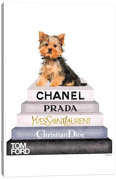 Bookstack & Yorkie Dog Canvas Art Print
