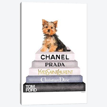 Bookstack & Yorkie Dog Canvas Print #GRE199} by Amanda Greenwood Art Print
