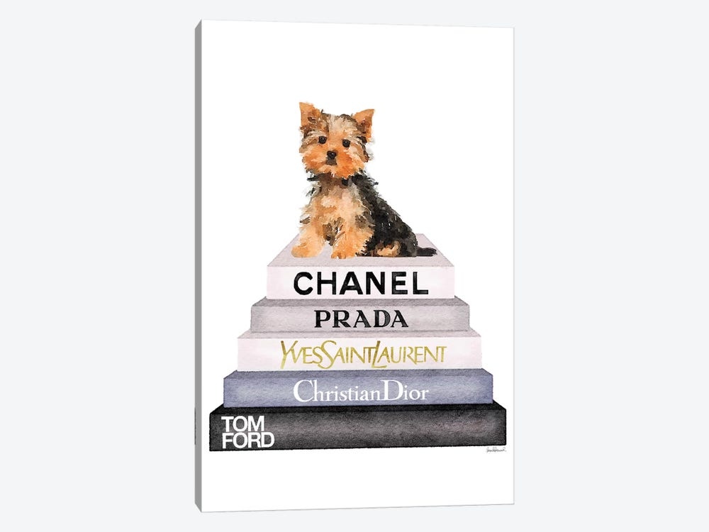 Bookstack & Yorkie Dog by Amanda Greenwood 1-piece Canvas Wall Art