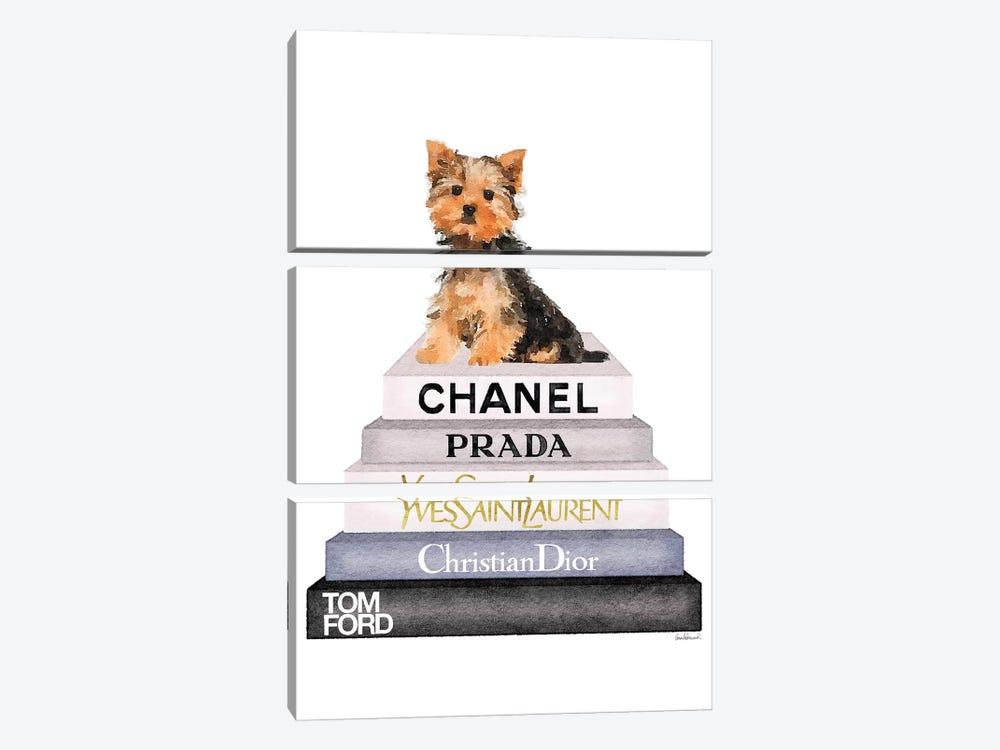 Bookstack & Yorkie Dog by Amanda Greenwood 3-piece Canvas Artwork