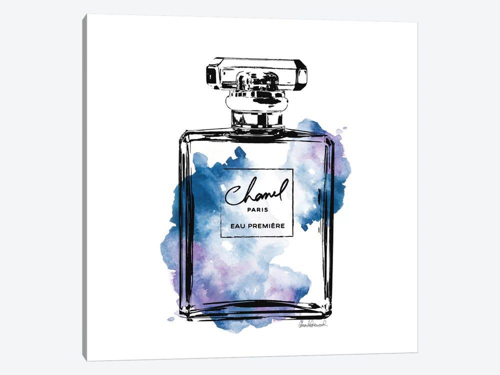 Black And Blue Perfume Bottle by Amanda Greenwood 1-piece Canvas Print