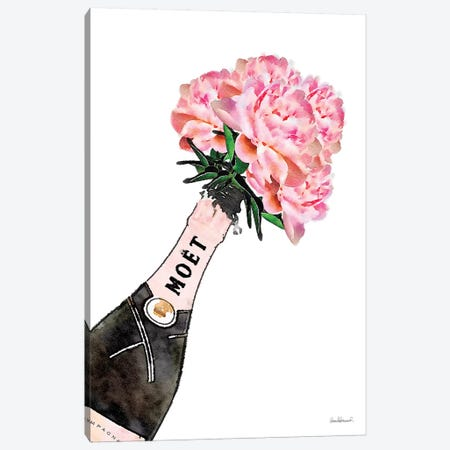 Champagne Pink Splash Peony V Canvas Print #GRE204} by Amanda Greenwood Canvas Artwork