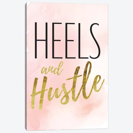 Heels And Hustle In Black, Gold, Blush, & Pink Canvas Print #GRE205} by Amanda Greenwood Canvas Wall Art