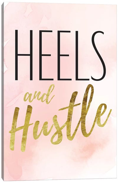 Heels And Hustle In Black, Gold, Blush, & Pink Canvas Art Print