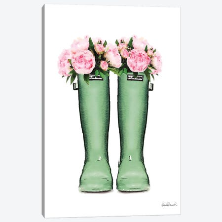 Hunter Boots In Green & Pink Peonies Canvas Print #GRE206} by Amanda Greenwood Canvas Artwork