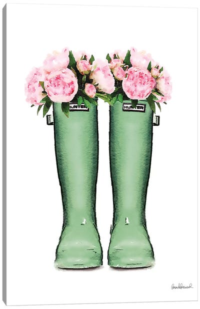 Hunter Boots In Green & Pink Peonies Canvas Art Print