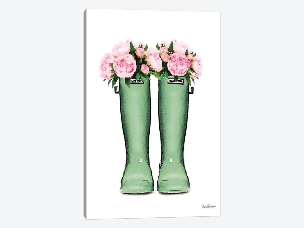 Hunter Boots In Green & Pink Peonies 1-piece Canvas Artwork