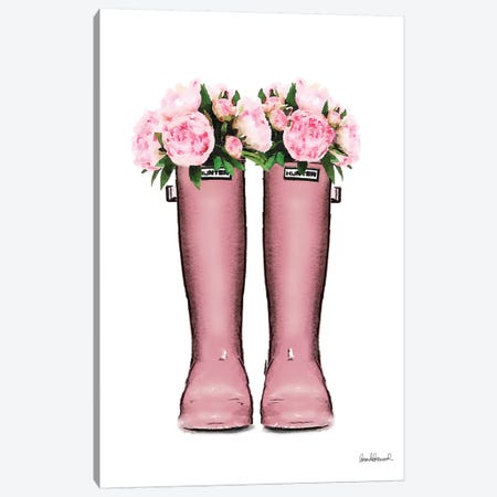 Hunter Boots In Pink & Pink Peonies Canvas Print #GRE207} by Amanda Greenwood Canvas Wall Art