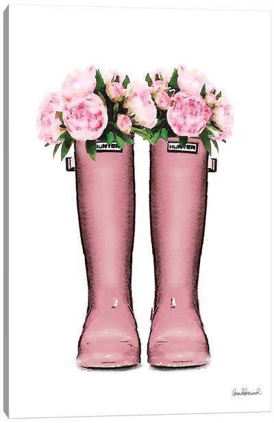 Hunter Boots In Pink & Pink Peonies Canvas Art Print