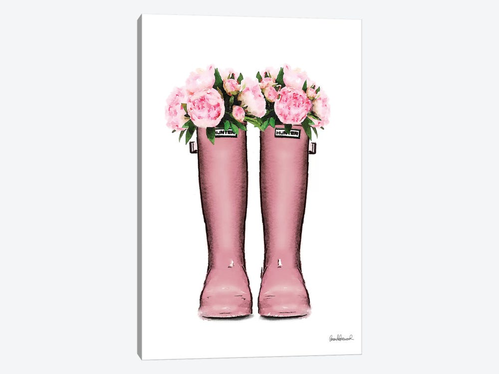 Hunter Boots In Pink & Pink Peonies 1-piece Art Print