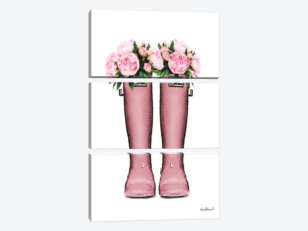 Hunter Boots In Pink & Pink Peonies by Amanda Greenwood 3-piece Canvas Print