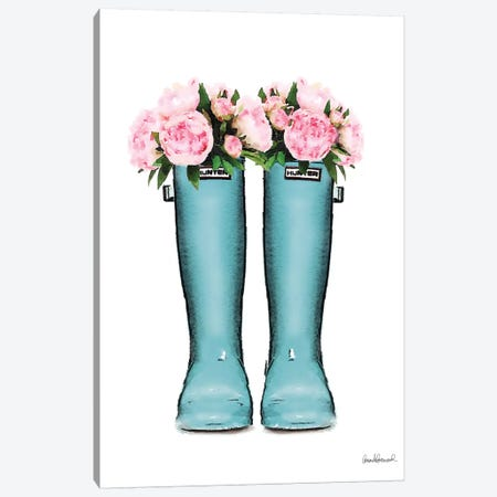 Hunter Boots Muted In Blue & Pink Peonies Canvas Print #GRE208} by Amanda Greenwood Canvas Print