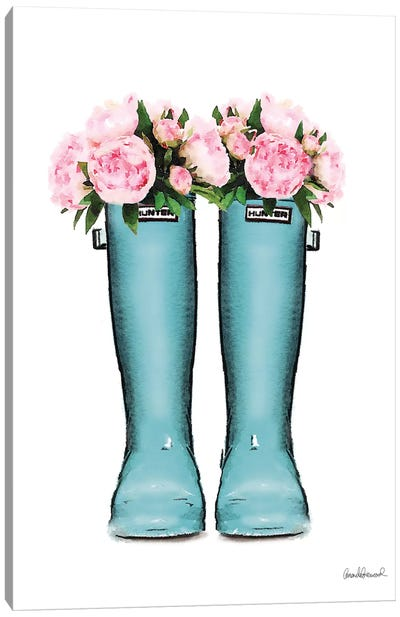 Hunter Boots Muted In Blue & Pink Peonies Canvas Art Print