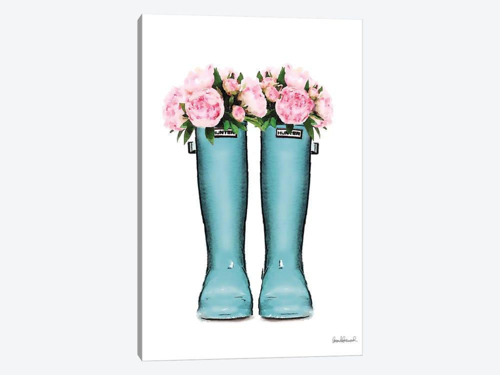 Hunter Boots Muted In Blue & Pink Peonies 1-piece Canvas Wall Art