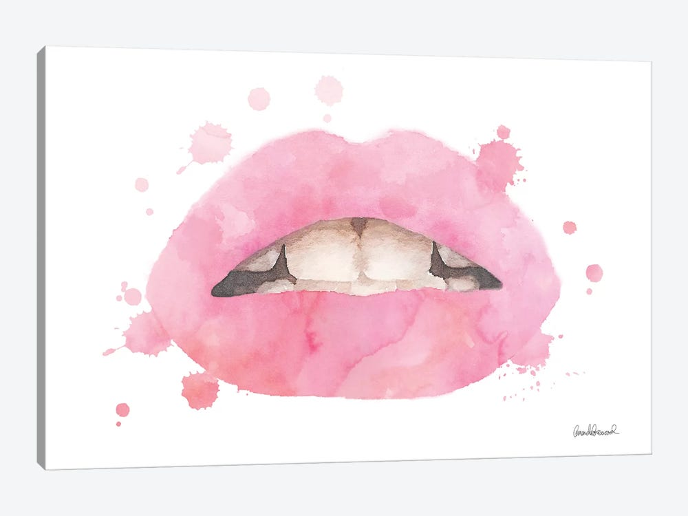 Lips Watercolor Splash, Pale Pink by Amanda Greenwood 1-piece Canvas Art Print