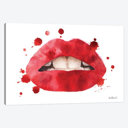 Lips Watercolor Splash, Red Canvas Print #GRE213} by Amanda Greenwood Canvas Art