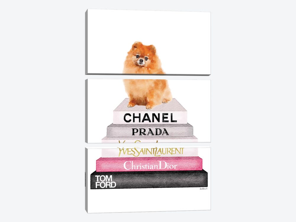New Book Stack & Pom Dog by Amanda Greenwood 3-piece Canvas Art Print