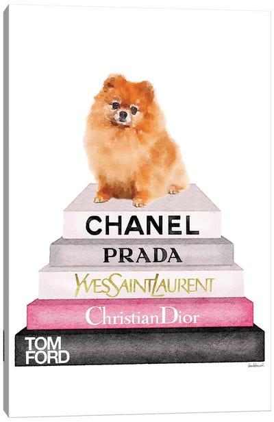 New Book Stack & Pom Dog Canvas Art Print