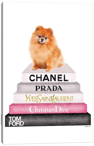 New Book Stack & Pom Dog Canvas Art Print
