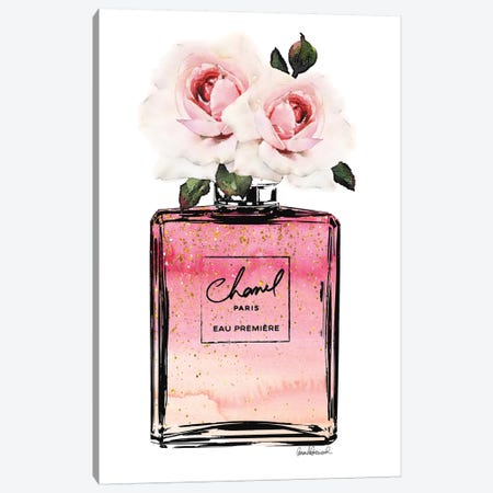 Perfume Bottle In Black, Pink, Ombre, Glitter, & Pink Rose Canvas Print #GRE217} by Amanda Greenwood Art Print