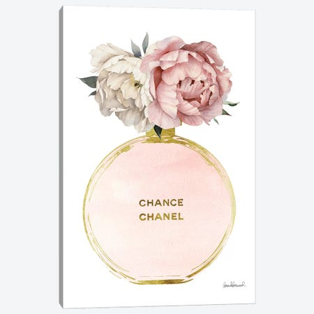 Perfume Round Solid In Gold, Nude, & Mixed Peony Canvas Print #GRE219} by Amanda Greenwood Canvas Artwork