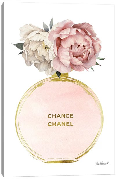Perfume Round Solid In Gold, Nude, & Mixed Peony Canvas Art Print