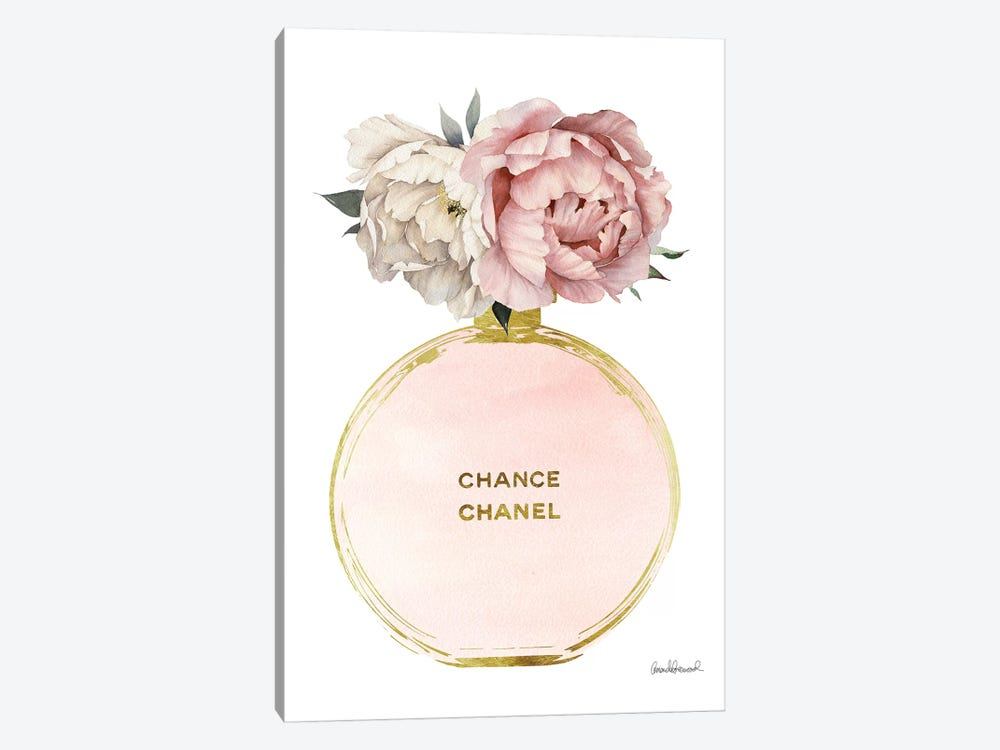 Perfume Round Solid In Gold, Nude, & Mixed Peony by Amanda Greenwood 1-piece Canvas Artwork