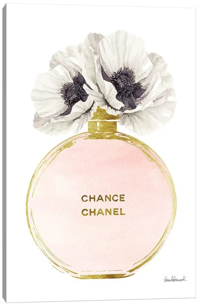 Perfume Round Solid In Gold, Nude, & White Poppy Canvas Art Print