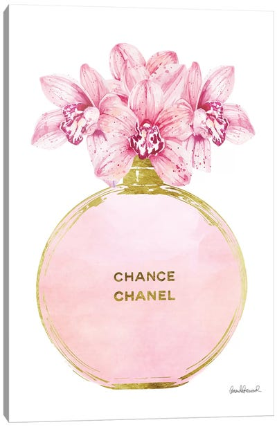 Perfume Round Solid In Gold, Pink, & Orchid Canvas Art Print