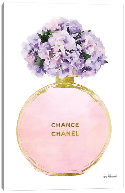 Perfume Round Solid In Gold, Pink, Purple, & Pink Hydrangea Canvas Art Print