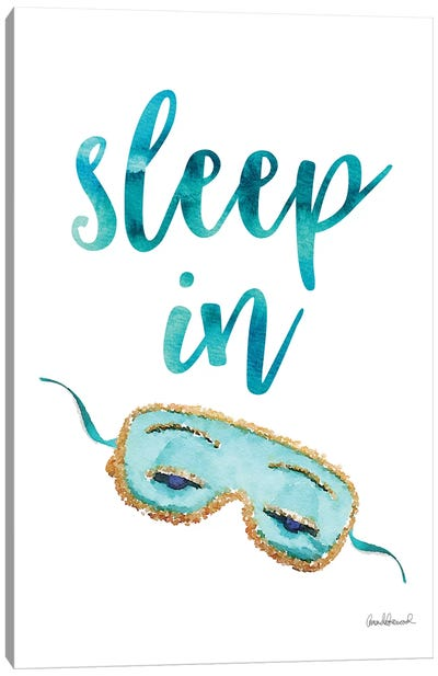 Sleep In Mask, Teal Canvas Art Print