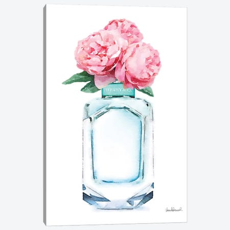 Teal Perfume & Pink Peony Canvas Print #GRE225} by Amanda Greenwood Canvas Artwork