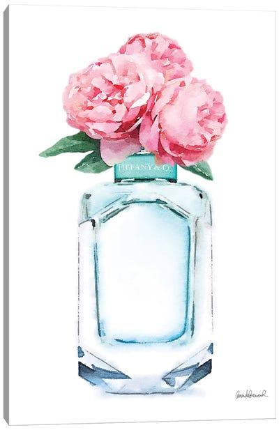 Teal Perfume & Pink Peony Canvas Art Print