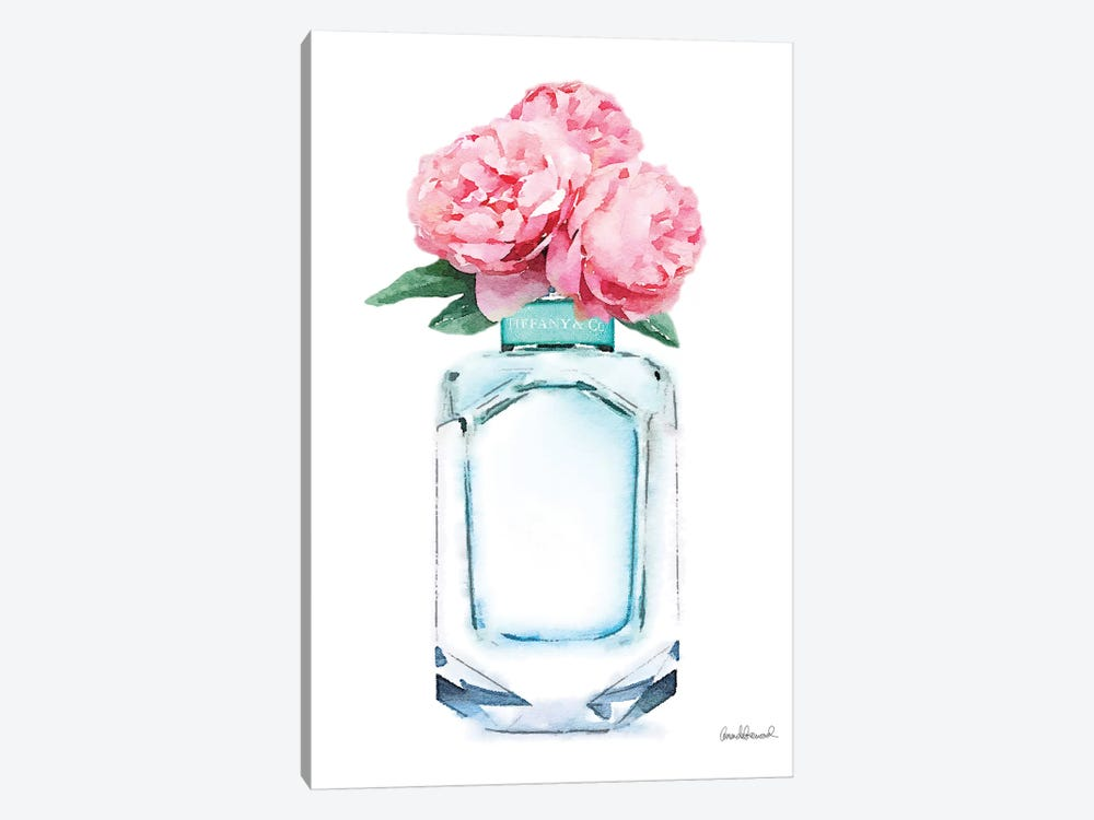 Teal Perfume & Pink Peony by Amanda Greenwood 1-piece Canvas Art Print