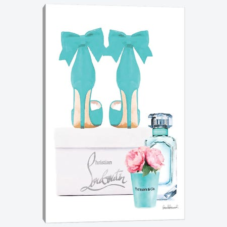 Teal Perfume Set III Canvas Print #GRE227} by Amanda Greenwood Canvas Artwork
