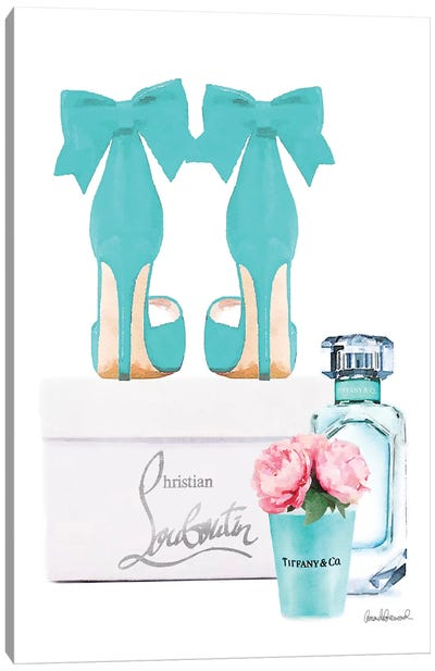 Teal Perfume Set III Canvas Art Print