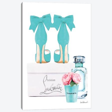 Teal Perfume Set III Canvas Print #GRE227} by Amanda Greenwood Canvas Artwork
