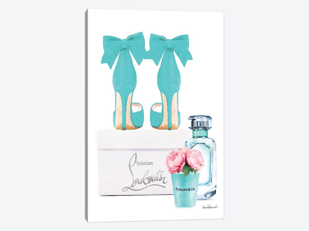 Teal Perfume Set III by Amanda Greenwood 1-piece Canvas Art Print