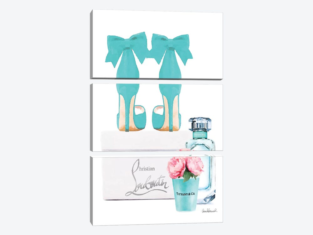 Teal Perfume Set III by Amanda Greenwood 3-piece Canvas Art Print