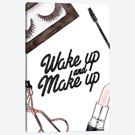 Wake Up And Make Up - Lashes & Lips Canvas Print #GRE228} by Amanda Greenwood Canvas Print