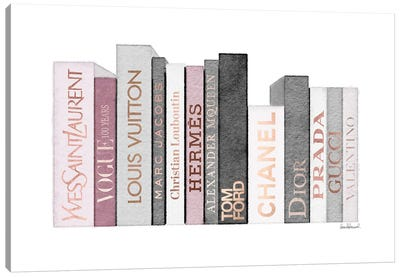 Book Shelf Full Of Rose Gold, Grey, And Pink Fashion Books Canvas Art Print