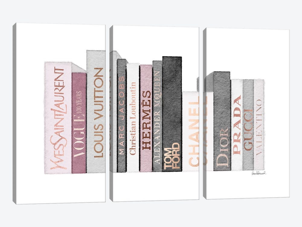 Book Shelf Full Of Rose Gold, Grey, And Pink Fashion Books by Amanda Greenwood 3-piece Canvas Print