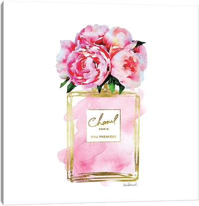 Gold And Pink Perfume Bottle With Pink Peonies Canvas Print #GRE22