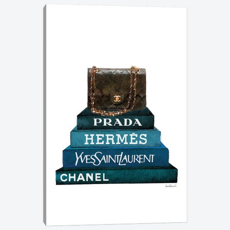 Stack Of Dark Teal And Black Fashion Books With A Chanel Bag Canvas Print #GRE230} by Amanda Greenwood Canvas Wall Art