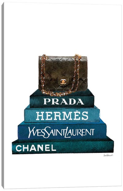 Stack Of Dark Teal And Black Fashion Books With A Chanel Bag Canvas Art Print