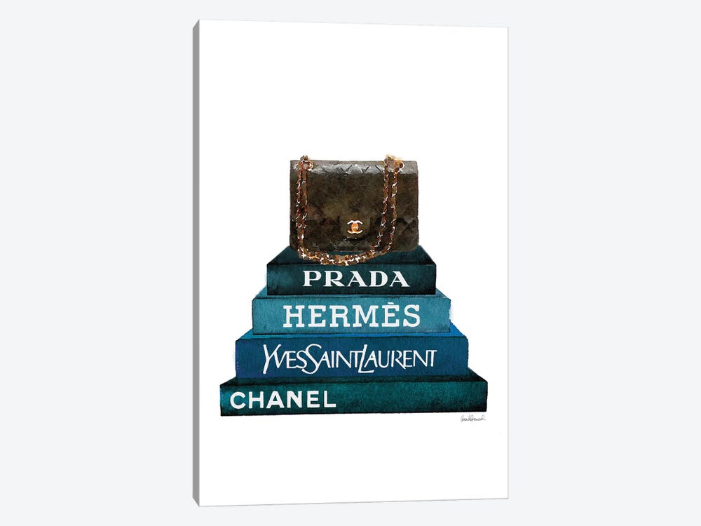 Stack Of Dark Teal And Black Fashion Books With A Chanel Bag by Amanda Greenwood 1-piece Canvas Art Print