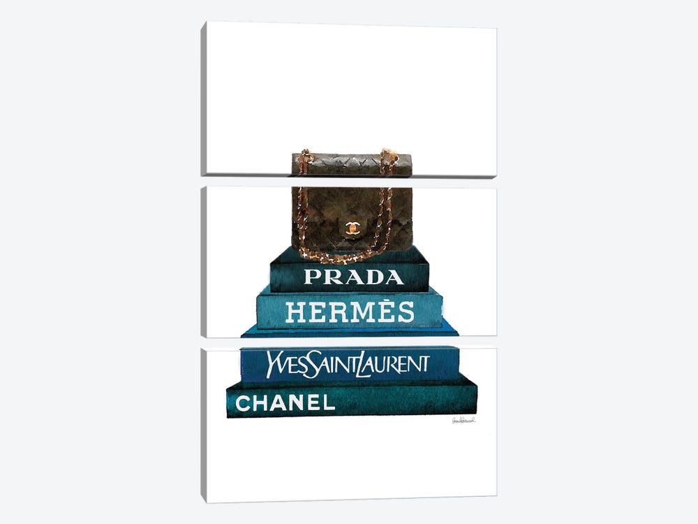 Stack Of Dark Teal And Black Fashion Books With A Chanel Bag by Amanda Greenwood 3-piece Canvas Art Print