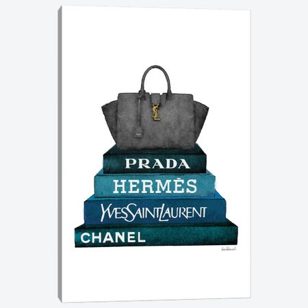Stack Of Dark Teal And Black Fashion Books With A Yves St. Lauren Bag Canvas Print #GRE231} by Amanda Greenwood Canvas Wall Art